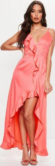 Petite Coral Frill Detail Maxi Dress