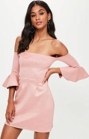 Pink Bonded Faux Suede Bodycon Dress