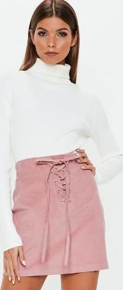 Pink Corduroy Lace Up Front Mini Skirt