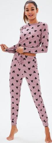 Pink Heart Print Lounge Set
