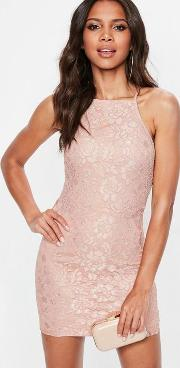 Pink Lace Square Neck Bodycon Dress