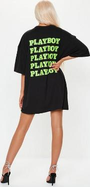 Playboy X Missguided Black Extreme Oversized Repeat Slogan T Shirt Dress