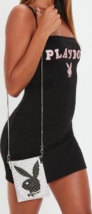 Playboy X Missguided Silver Diamante Pouch Bag