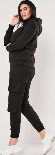 Plus Size Black Double Pocket Cargo Joggers