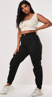 Plus Size Black Plain Cargo Trousers