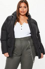 Plus Size Black Ultimate Hooded Puffer Jacket