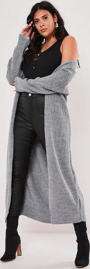 Plus Size Grey Belted Maxi Cardigan