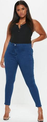 Plus Size Mid Blue High Waisted Skinny Jeans