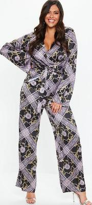 Plus Size Wide Leg Printed Trousers
