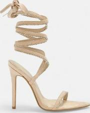 Pointed Toe Lace Up Beaded Heels