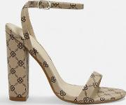 Printed Barely There Block Heels
