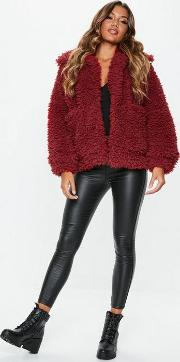 Red Boxy Shaggy Borg Teddy Jacket