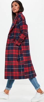 Red Checked Long Line Coat