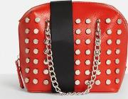 Red Faux Leather Studded Cross Body Bag