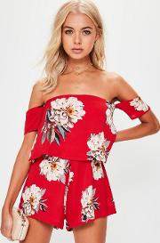 Red Floral Crepe Overlay Bardot Playsuit