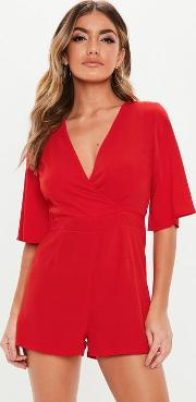 Red Frill Back Wrap Playsuit