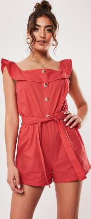 Red Linen Look Frill Strappy Button Playsuit