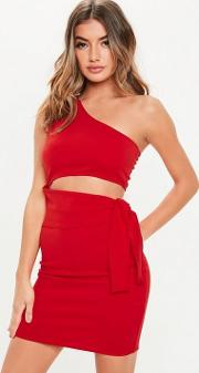 Red One Shoulder Cut Out Tie Mini Dress