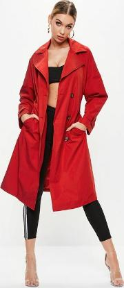 Red Oversized Classic Trench Coat