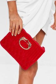 Red Quilted Dragon Trim Clutch