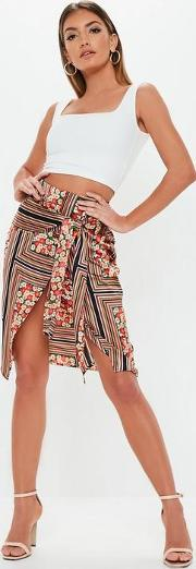 Red Stripe Floral Mix Wrap Tie Side Skirt