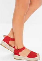 Red Two Part Peep Toe Espadrille Sandals