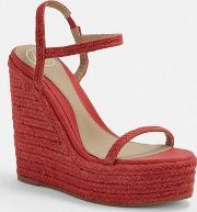 Red Two Strap Jute Wedges