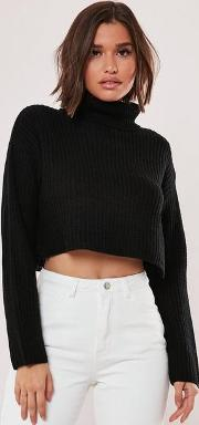 Roll Neck Cropped Knitted Jumper