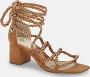 Rope Lace Up Mid Heeled Sandals