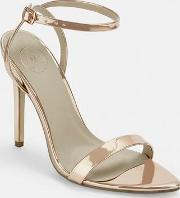 Rose Gold Patent Pointed Barely There Heels