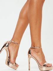 Rose Gold Simple Strap Platform Sandals