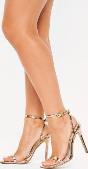 Rose Gold Slanted Toe Barely There Heels