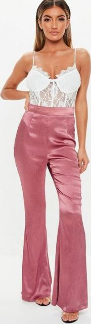Rose Satin Pleated Flare Trousers