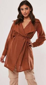 Rust Organza Long Belted Wrap Blouse