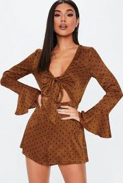 Rust Polka Dot Satin Tie Front Cut Out Playsuit