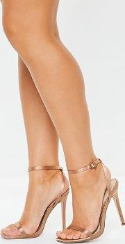 Rust Satin Skinny Barely There Heels