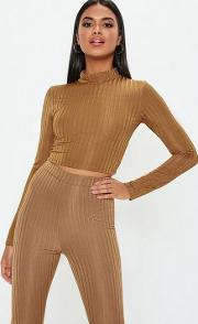 Rust Shiny Ribbed High Neck Crop Top