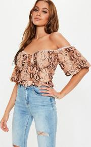 Rust Snake Lace Up Milkmaid Crop Top