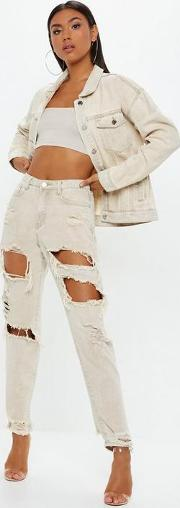 Sand Extreme Ripped Mom Rigid Jeans