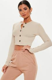 Sand Horn Button Long Sleeve Crop Top