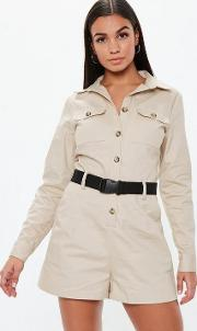 Sand Utility Long Sleeve Belted Playsuit