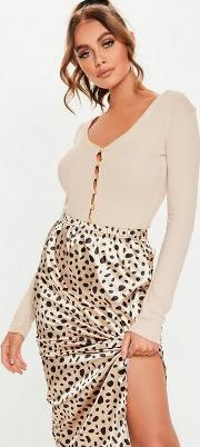 Sand Wooden Button Front Ribbed Bodysuit