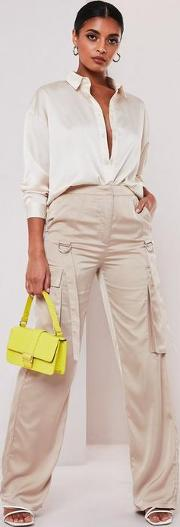 Satin D Ring Trim Cargo Trousers