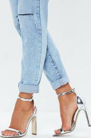 Silver Illusion Heel Barely There Faux Leather Heels