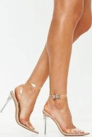 Stassie X Missguided Nude Clear Ankle Strap Court Shoes