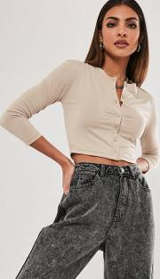 Stone Button Front Long Sleeve Crop Top
