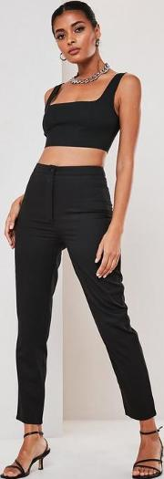 Tall Black Co Ord Basic Cigarette Trousers