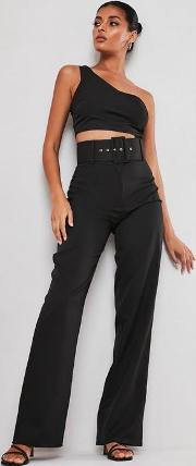 Tall Black Co Ord Super Belted Straight Leg Trousers