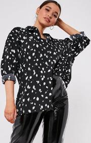 Tall Black Extreme Oversized Cow Print Shirt