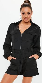 Tall Black Utility Belted Playsuit